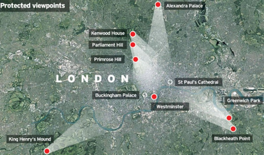 Protected viewpoints of the city of London