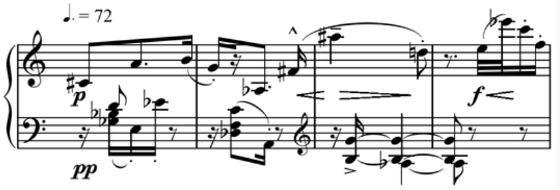 Schonberg's '5 Klavierstücke, Op. 23 No. 5' bars 1-4 where all twelve tones of the chromatic scale are used with equality, creating atonality which breaks free from tonal hierarchies established in previously tonal music.